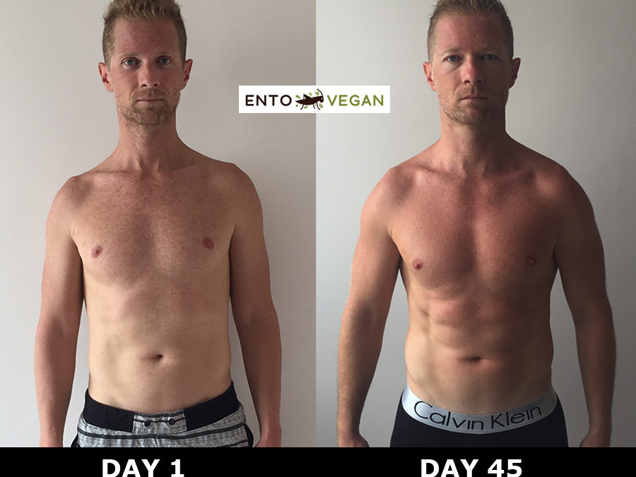 Before and halfway photos – Day 1 to Day 45 on the Entovegan diet